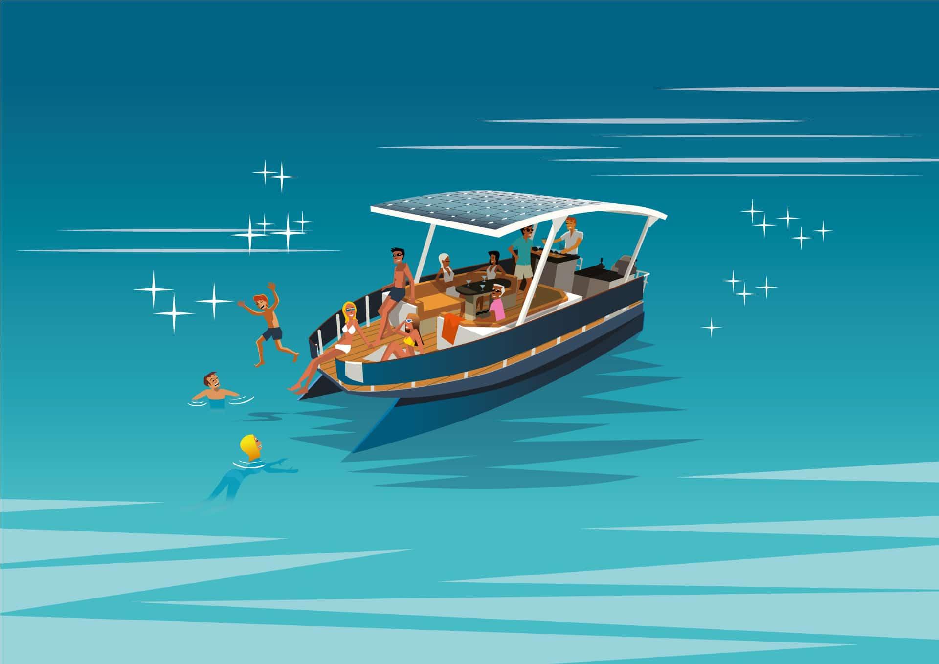 Baignade en bateau électrique solaire sur le lac d'Aix-les-bains